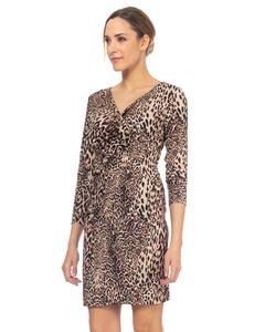 V Neck  Leopard  Print dress  Brown