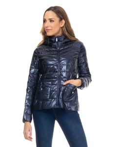 Short Metallic Down Jacket With Hood, Pockets And Cord Details Navy