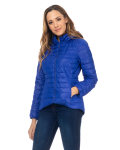 Short Down Jacket With Hood And Back Elastic Waist  Blue