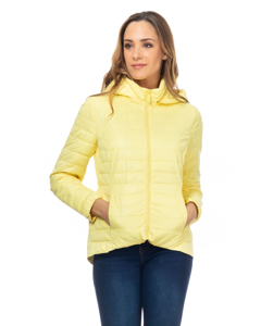 Short Down Jacket With Hood And Back Elastic Waist  Yellow