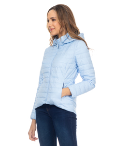 Short Down Jacket With Hood And Back Elastic Waist  Light Blue