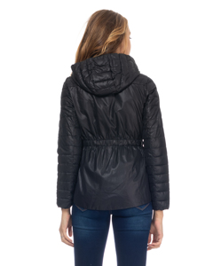 Short Down Jacket With Hood And Back Elastic Waist  Black
