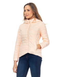Short Down Jacket With Hood And Back Elastic Waist  Salmon