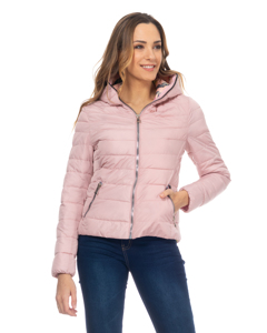 Short Down Jacket,  With Hood, Print Lining And Zipper Pockets Pink