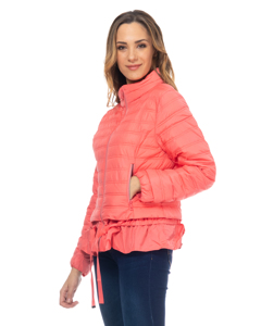 Short Down Jacket Hood And Lace Flounce In The Low Part And Fists Orange
