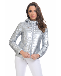 Short Down Jacket With  Removable Hood , And Ruffles On The Back Silver