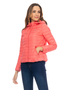 Short Down Jacket With  Removable Hood , And Ruffles On The Back Orange