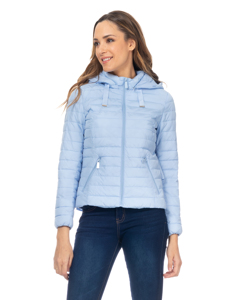 Short Down Jacket With  Removable Hood , And Ruffles On The Back Light Blue