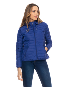 Short Down Jacket With  Removable Hood , And Ruffles On The Back Blue