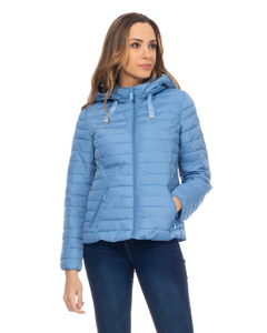 Short Down Jacket With  Removable Hood , And Ruffles On The Back Blue Denim
