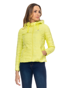 Short Down Jacket With  Removable Hood , And Ruffles On The Back Yellow