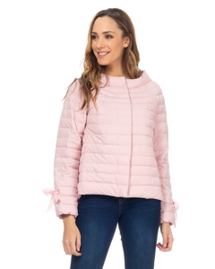 Short Down Jacket With  Round Neck And Ribbons In The Fists Pink