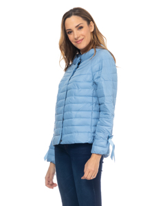 Short Down Jacket With  Round Neck And Ribbons In The Fists Blue Denim