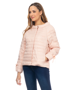Short Down Jacket With  Round Neck And Ribbons In The Fists Salmon