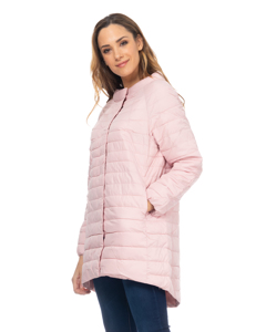 Long Down Jacket With Round Neck With Longer Back Pink