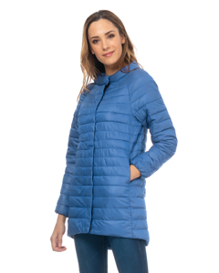 Long Down Jacket With Round Neck With Longer Back Light Blue