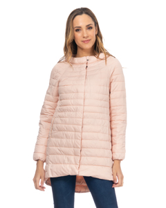Long Down Jacket With Round Neck With Longer Back Salmon