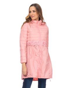 Long Down Jacket With Lace Waist Detail And Hood  Pink