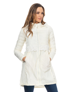 Long Down Jacket With Lace Waist Detail And Hood  Ecru