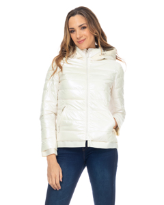 Short Metallic Down Jacket With Hood And Ribbon Details Ecru