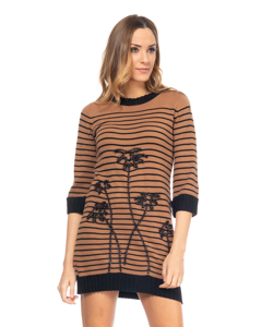 Stripes  Knit Dress With embroidery Details  Camel