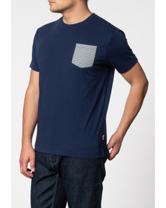 Eagle, Short Sleeve T-shirt With Stripe Pocket In Navy