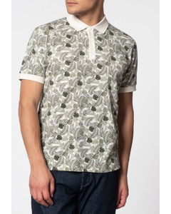 Gaston, Short Sleeve Palm Print Polo Shirt In Off White