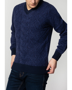 Hatcliffe, Cable V-neck Jumper With Ribbed Hem And Cuffs In Navy Marl