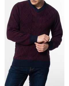 Hatcliffe, Cable V-neck Jumper With Ribbed Hem And Cuffs In Burgundy Marl