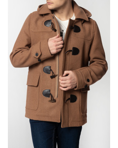 Bonner, Men's Short Duffle Coat With Detachable Hood In Tan
