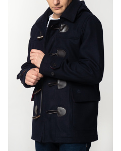 Bonner, Men's Short Duffle Coat With Detachable Hood In Dark Blue