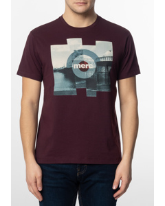 Brett, Men's Cotton T-shirt With Pier Photo Print In Mahogany
