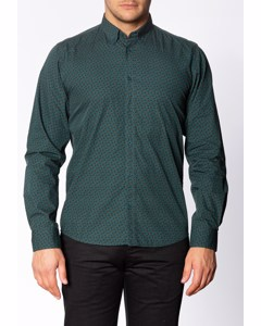 Talbot, Men's Long Sleeve Cotton Shirt With Small Paisley Print In Bottle Green