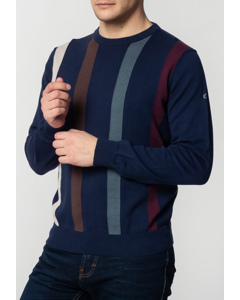 Darren, Men's Cotton Jumper With Vertical Stripes In Navy