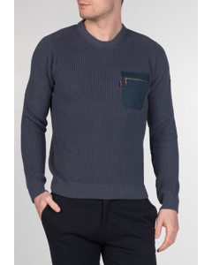 Tufnell, Men's Cotton Military Style Crewneck Jumper With Zip Pocket In Vintage Blue