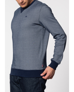 Shelton, Birdseye Crew Neck Sweat With Long Sleeves In Navy