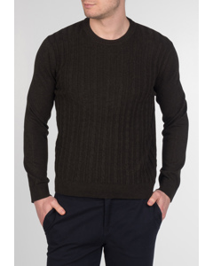 Muswell, Men's Cotton Cable Knit Jumper With Round Neck, Ribbed Collar And Cuffs In Marl Khaki