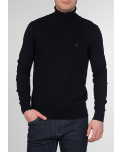 Wapping, Men's Cotton Roll Neck Jumper With Long Sleeves And Ribbed Hems In Dark Navy