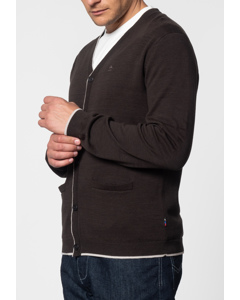 Ryan, V-neck Tipped Cardigan In Dark Khaki