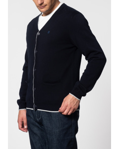 Ryan, V-neck Tipped Cardigan In Dark Navy