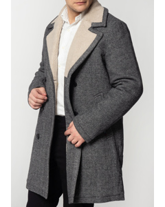 Fraser, Men's Tweed Overcoat With Borg Lining In Dark Grey