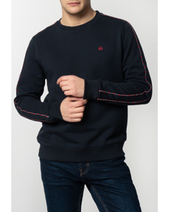Norbury, Men's Basic Sweatshirt With Tartan Piping Details In Navy