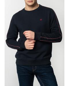 Norbury, Men's Basic Sweatshirt With Tartan Piping Details In Navy
