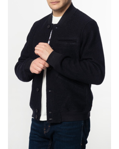 Sherlock, Men's Wool Bomber Jacket With Ribbed Hem And Cuffs In Dark Navy