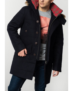 Raleigh, Men's Padded Wool Parka With Fur Hood In Dark Navy