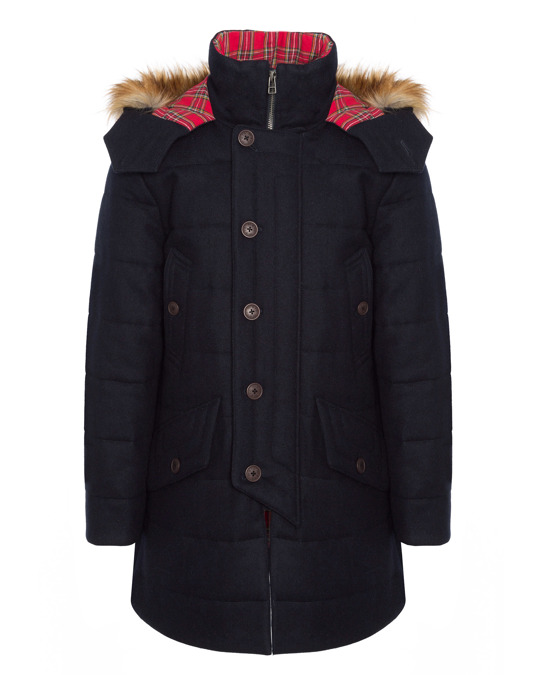 Merc Raleigh, Men's Padded Wool Parka With Fur Hood In Dark Navy