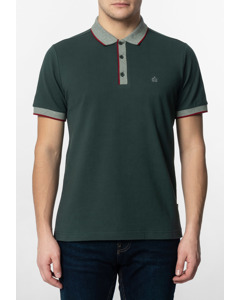 Rupert, Men's Plain Cotton Polo Shirt With Collar And Sleeve Contrast Details In Bottle Green