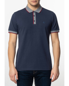 Rupert, Men's Plain Cotton Polo Shirt With Collar And Sleeve Contrast Details In Dark Blue