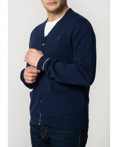 Beckton, Men's Fine Knitted Cotton Cardigan With Tipped Details In Navy