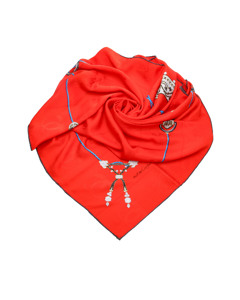 Cartier Printed Silk Scarf Red